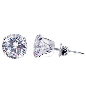 Attractive 7 MM Round Brilliant Cut Cubic Zirconia Sterling Silver Stud Post Earrings