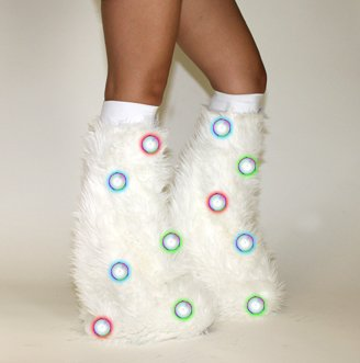 White Led Circle Light Up Rave Furry Legwarmers Fluffies