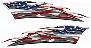 Amerian Flag Partiotic Motorcycle Gas Tank Flame Decals