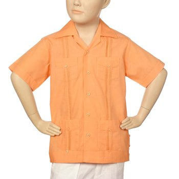 Boys poly-cotton guayabera in cantaloupe. Short sleeve