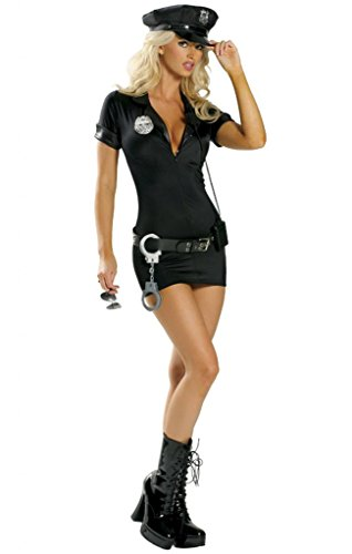Sexy Zip Down Police Lady Halloween Costume