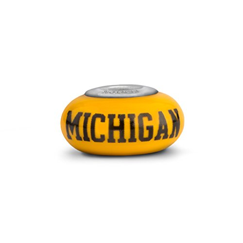 Michigan Wolverines Fenton Glass Bead Fits Most European Style Charm Bracelets