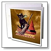 Vintage Halloween Black Cat Greeting Cards