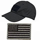 Ultimate Arms Gear® Tactical Military Stealth Black Baseball Sport Team Hat Cap + USA Flag Patch