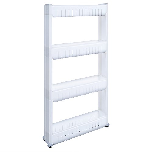 1208S Storage Cabinet Organizer Rolling Pull Out Cart Rack Tower with 4 Wheels Solutions for Narrow Spaces in Laundry Kitchen Bathroom Apartments (4-Tier)