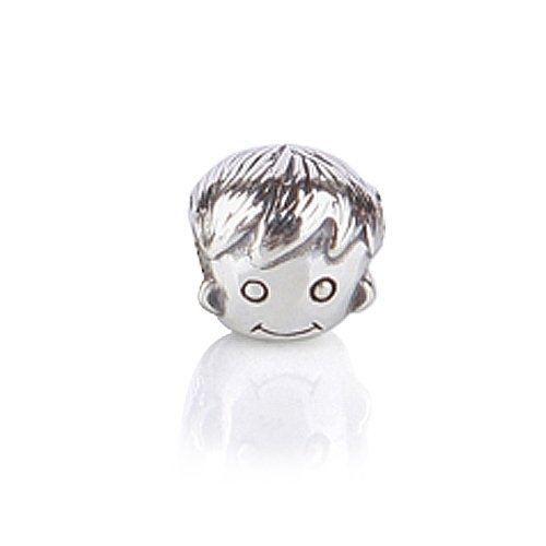 Bling Jewelry .925 Sterling Silver Boy Face Charm Beads Compatible with Pandora Bead BraceleBling Jewelry .925 Sterling Silver t