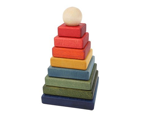 Wooden Story Handmade Rainbow Square Pyramid Stacker - 1