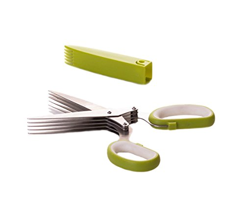 Select Culinary 5-Blade Herb Scissors Cutter-Stainless Steel Multi Blade Shears