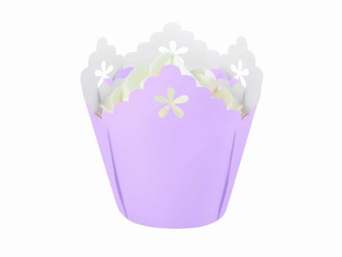 Wilton Lavender Flower Pleated Eyelet Baking Cups, 15 Count
