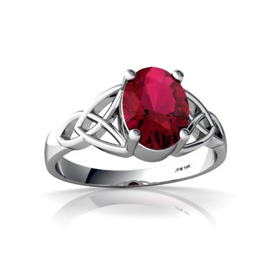 Created Ruby 14ct White Gold Celtic Trinity Ring