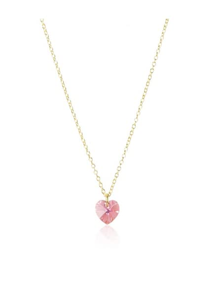 Bottleblond Jewels Kid's Pink Crystal Heart Necklace
