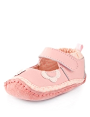 Leather Floral Appliqué Ballet Pram Shoes