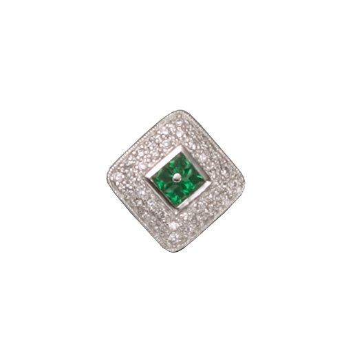 C.Z. AND EMERALD RHODIUM PLATED (.925) STERLING SILVER PENDENT (Nice Gift, Special Sale)
