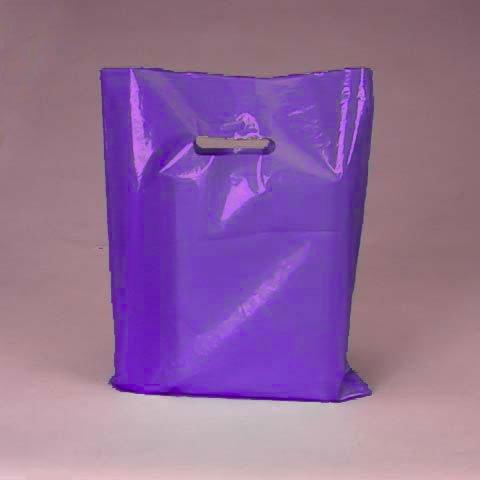 50 Pack Purple Opaque Cut Out Handle 9 X 12 Inch Size Retail Merchandise Plastic Bags (Wholesale Merchandise compare prices)