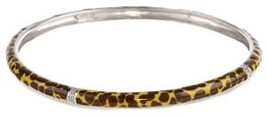 Sterling Silver Orange Leopard Print Enamel Diamond-Accent Bangle Bracelet