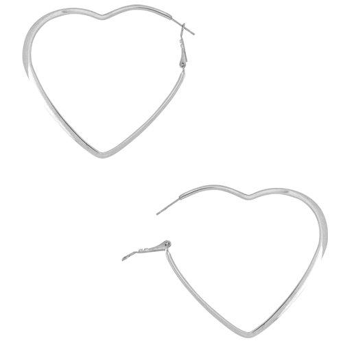 50mm - Inox Jewelry Heart Shape 316L Stainless Steel Earrings