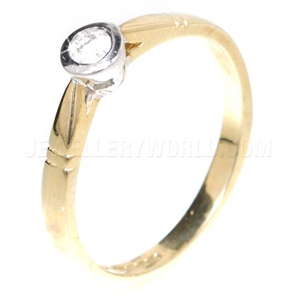 0.10ct Diamond Solitaire 9ct Gold Rubover Engagement Ring