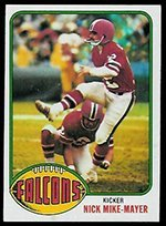 1976 Topps Regular (Football) Card# 506 Nick Mike-Mayer of the Atlanta Falcons ExMt Condition
