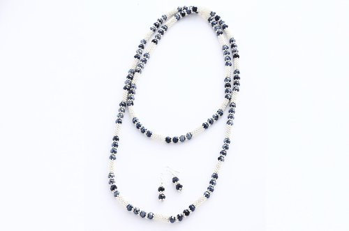 Fashion Wrap Necklace Earring Set 8mm Black Crystal Beads 42''