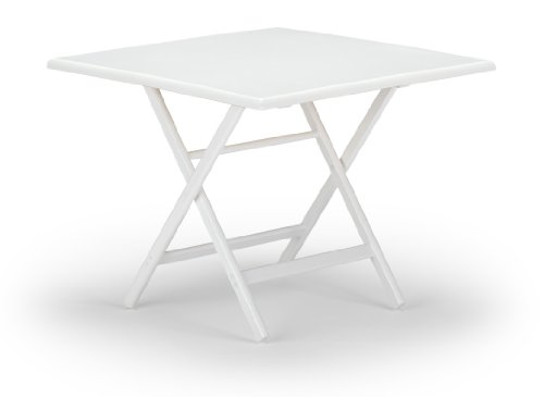 Telescope Casual 36-Inch Square Wood Accessory Table, Adjustable Height, 21-Inch And 28-Inch, White Base And Top