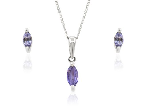 9ct White Gold Tanzanite Earrings and Pendant Set + 46cm Curb Chain