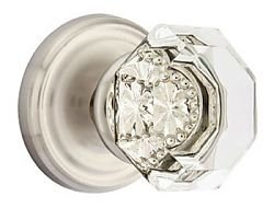 Emtek Old Town Clear Crystal Door Knob with Satin Nickel Rosette ...