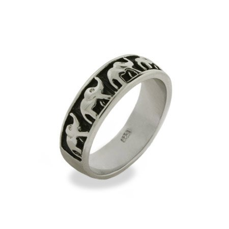 Lucky Parade of Elephants Sterling Silver Ring Size 6 (Sizes 5 6 7 8 9 Available)