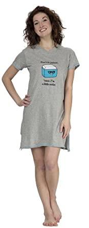 "(5089VR) Rampage ""I'm a Little Cooler"" Embroidered Cotton Jersey Night Shirt (Small-3X) in Gray Size: 3X"