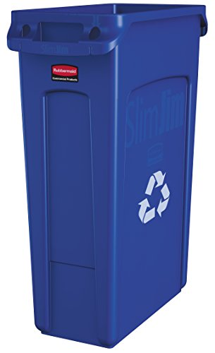 Rubbermaid Commercial Slim Jim Recycling Container with Venting Channels, Plastic, 23 Gallons, Blue (354007BE) (Can Recycling compare prices)