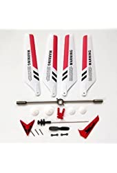 Syma Educational Products - Full Set Replacement Parts for Syma S107 RC Helicopter, Main Blades, Main Shaft,Tail Decorations, Tail Props, Balance Bar, Gear Set,Connect Buckle-Red Set- - Replacement Parts for RED Syma S107 RC Helicopter