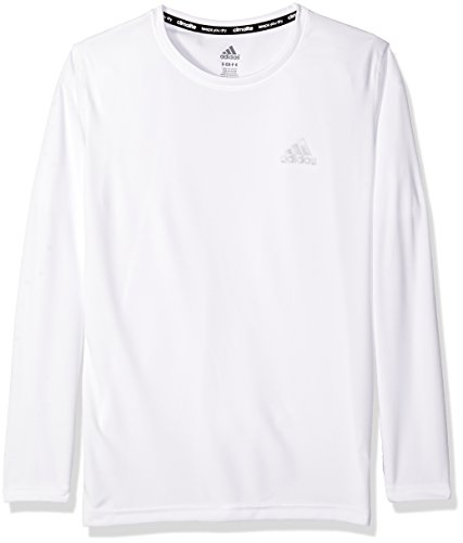 adidas Big Boys' Essential Clima Long Sleeve Tee, White, Large/14-16