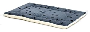 Midwest Quiet Time 23-By-17-Inch Paw Print/Fleece Reversible Pet Bed, Blue