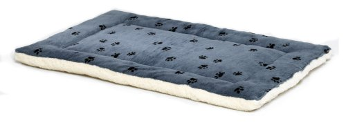 Midwest Quiet Time 21By12Inch Paw Print/Fleece Reversible Pet Bed, Blue Picture