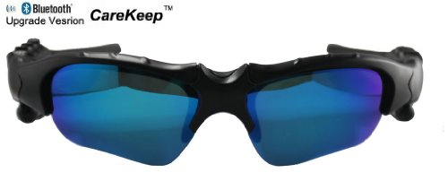 Fashion Carekeep Sports Bike Bicycle Out Outdoor Stero Bluetooth Sunglass Handsfree Headset Music Player For Iphone5 4S Samsung Galaxy Siii Siv S3 S4 Htc One M7 Black With Mirror Blue Lens