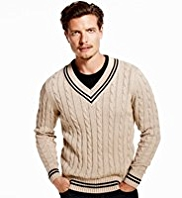 Blue Harbour Pure Cotton Cable Knit Cricket Jumper