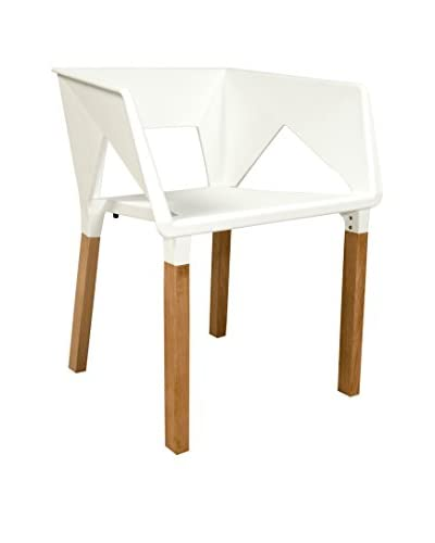 LeisureMod Elkton Modern Accent Chair With Wooden Frame, White