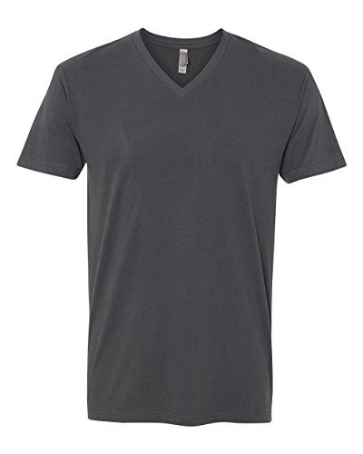 Next Level Apparel 6440 Mens Premium Fitted Sueded V-Neck Tee - Heavy Metal, Large