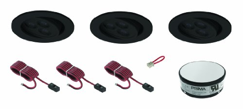 3 Led Adjustable Ceiling Recessed Kit 6500K Cool White - Black Finish Trim