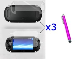 Little Mouse ® 3 Set Front & Back Crystal Clear Screen Protector Lcd For Sony Ps Vita