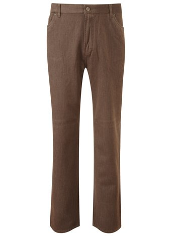 Austin Reed Chocolate Marl Brushed 5 Pocket Trousers REGULAR MENS 36