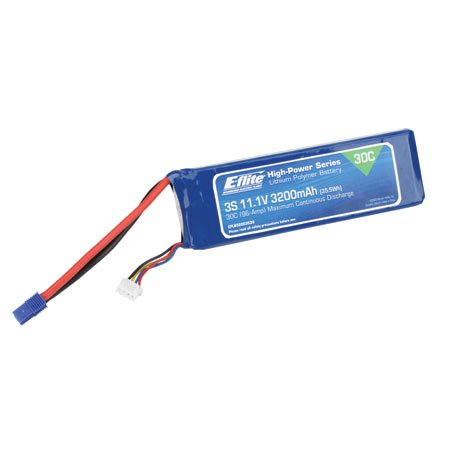E-Flite 3200mAh 3S 11.1V 30C LiPo, 12AWG E EFLB32003S30