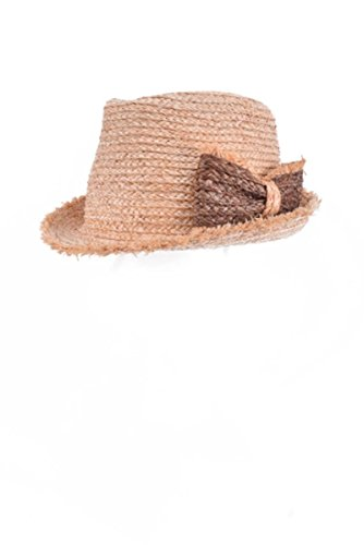 Natural Colored Belted Detail Straw Fedora Hat Accessory