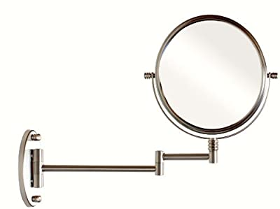 DecoBros 8-Inch Two-Sided Swivel Wall Mount Mirror with 7x Magnification, 13.5-Inch Extension, Nickel