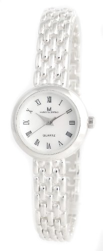 Luxury dress watch in sterling silver, for women, round sterling silver bezel, case diameter 22mm, case thickness 7mm, fine iridescent mother of pearl watch dial , Roman numerals, watch bracelet in classic design, band width 9 mm, fold- over clasp, Japane