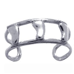 Pitter Patter Baby Feet 14k White Gold Toe Ring