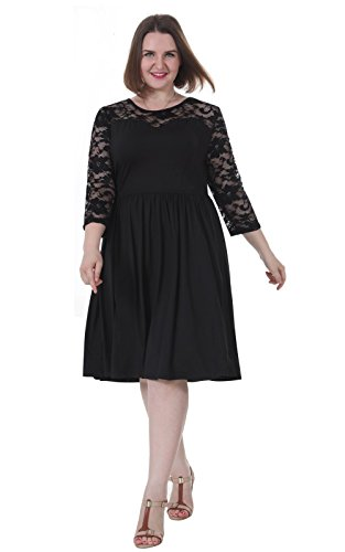 Sapphyra Women's Plus Size See Through Neck 2 3 Sleeve Floral Lace Swing Dress