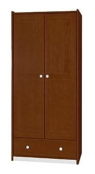 Drehturenschrank / Kleiderschrank Milo 09, Farbe: Nussfarben / Weiß, Kiefer Vollholz massiv - Abmessungen: 180 x 80 x 55 cm (H x B x T)
