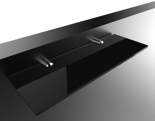 New Black Glass & Chrome Floating Book Shelf