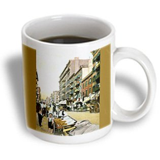Bln Vintage New York City Collection - Mulberry Street With Market Vendors Horses And Wagons - 11Oz Mug (Mug_170441_1)