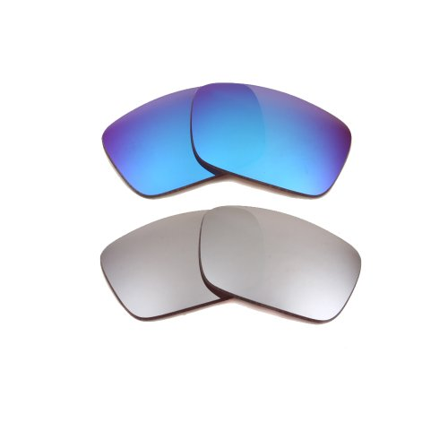 New SEEK OPTICS Replacement Lenses for Oakley FUEL CELL - Polarized Silver & Blue Mirror